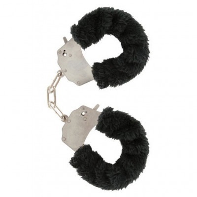 Black Furry Metal Handcuffs