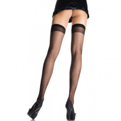 Sheer Thigh Highs With Rhinestone