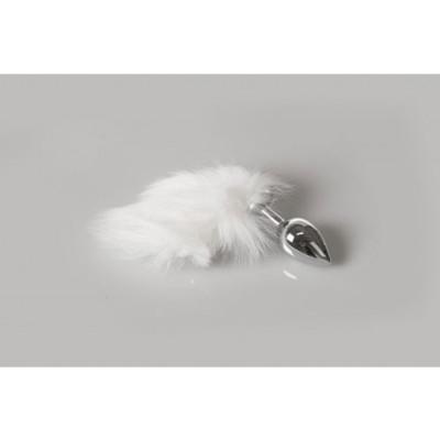 Fluffy White Tail Steel Anal plug Medium