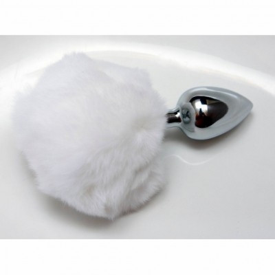 Fluffy White Tail Steel Anal plug Medium
