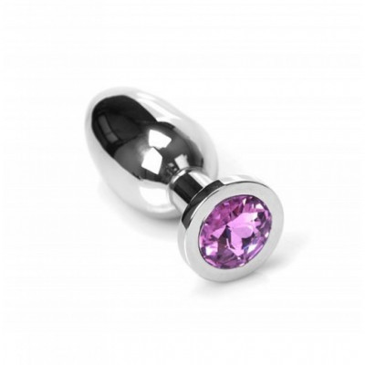 Stainless steel Jewel Buttplug Medium Pink