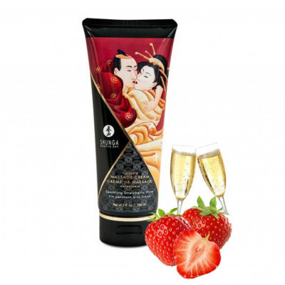 Shunga Massage Cream Strawberry Wine Flavor 200ml