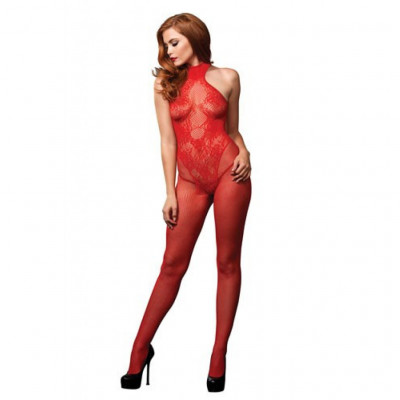Seamless Fishnet Bodystocking Red