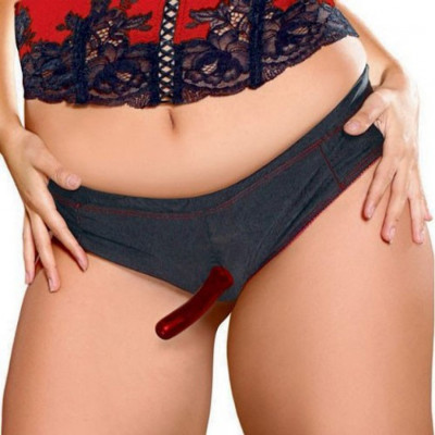 Plus Size Booty Short strap-on with two dildos starter set