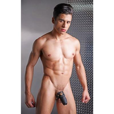 Locking Silicone Male Chastity Device Black