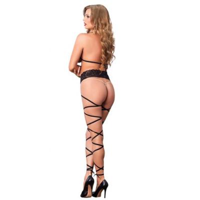 Lace Cage Strap Wrap Around Bodystocking Black