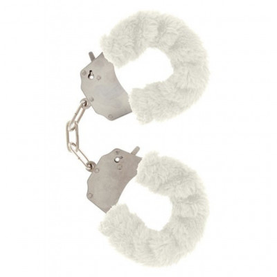 White Furry Metal Handcuffs