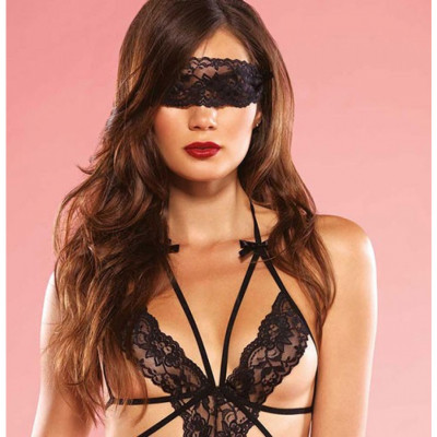 Cage Strap Crotchless Teddy with Blindfold