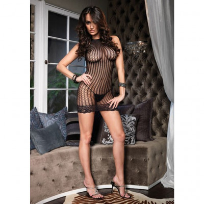 Lace Trimmed Crochet Net Halter Mini Dress