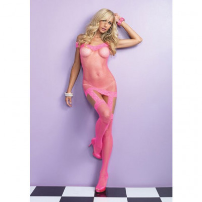 Fishnet Pink Dress with Garter Effect