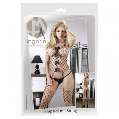 Net Basque with Attached Stockings