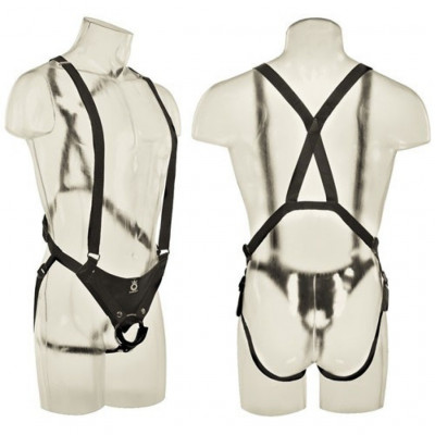 King Cock 11 inch Hollow Strap-On Suspender System in Flesh