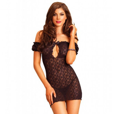 Black Lace off the shoulder chemise