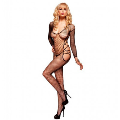 Net Bodystocking with Strappy Side