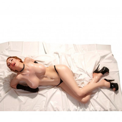 Orgy Vinyl Bed Sheet in White 200x230cm