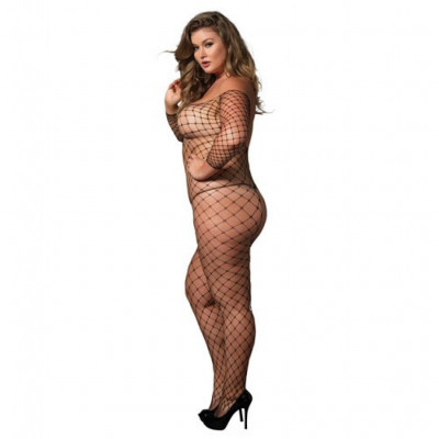 Plus size black crotchless Off the Shoulder Bodystocking