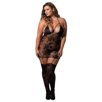Plus size strappy suspender bodystocking dress