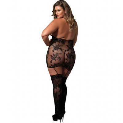 Plus size strappy suspender bodystocking dress