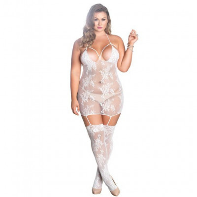 Plus Size Strappy Suspender Dress White