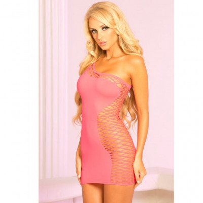One Shoulder Pink Mini Dress