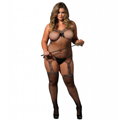 Reversible Plus size Leopard Bodystocking