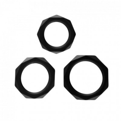 Rock Rings The Cocktagon lll Pack of 3 Black