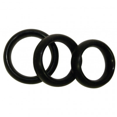 Threesome Silicone black Cock Rings