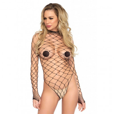 Turtleneck Fishnet Teddy Black