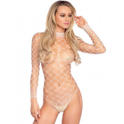 Leg Avenue Turtleneck Fishnet Teddy White