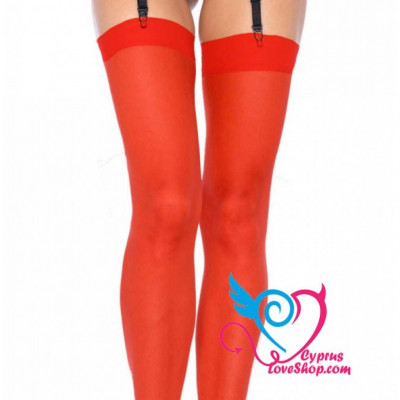 Plussize Red Sheer Thigh High