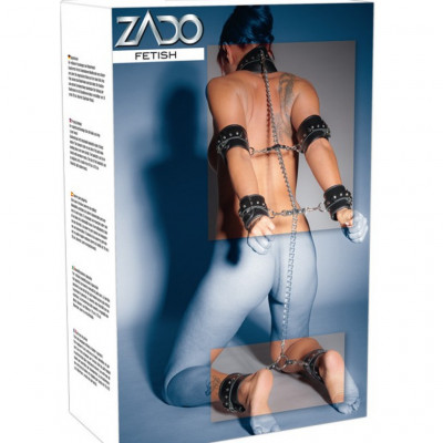Complete leather bondage set of chains and cuffs