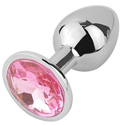 Stainless steel Jewel Butt plug Pink-Large