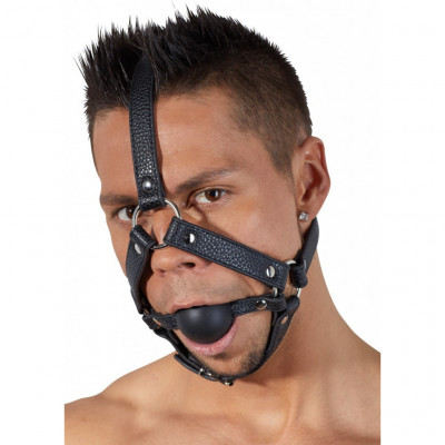 One size Head leather Harness with ball gag