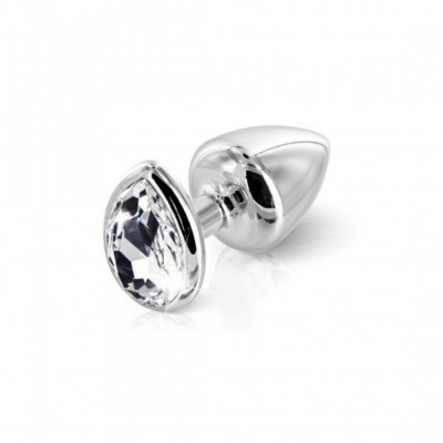 Aluminium Butt Plug with Teardrop Crystal