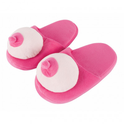 Pink Plush Boobs Slippers