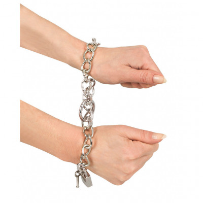 Bad Kitty Metal Chain Cuffs
