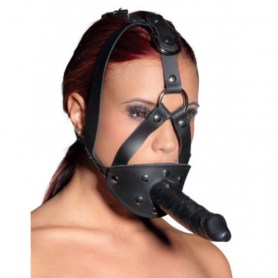 Zado Leather Head Harness with Dildo