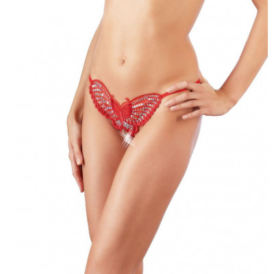 Crotchless Butterfly String Red