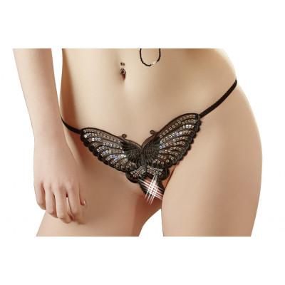 Crotchless Butterfly String Black