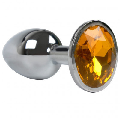 Aluminium Butt Plug Yellow Gem - Medium