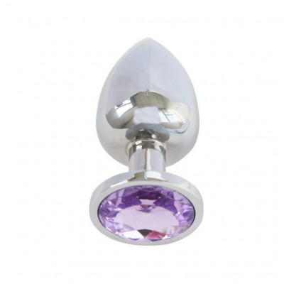 Aluminium Butt Plug Purple Gem - Small