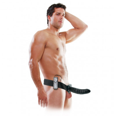 Fetish Fantasy Vibrating Hollow Strap-on 8 Inch Black