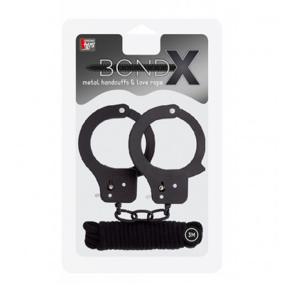 BondX Designer Black Metal Handcuffs and 3 meters cotton rope
