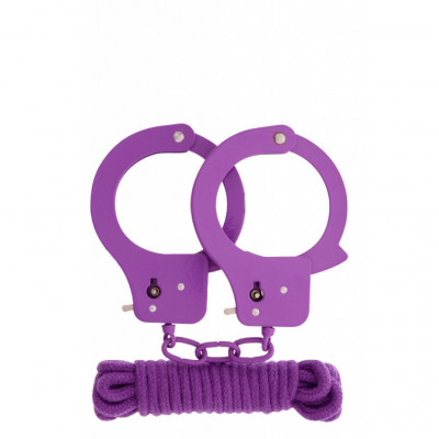 Designer purple Bondage set of cuffs with 3 meters rope