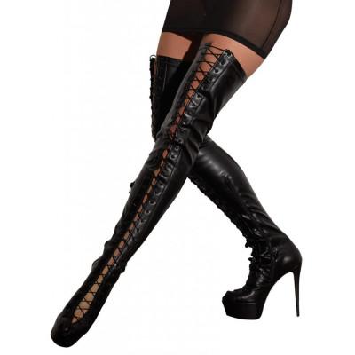 Γυναικείες Ψηλές Μαύρες Μπότες Cottelli με Δέσιμο