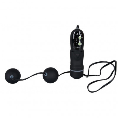 Two Vibrating Velvet Black Balls with remote control