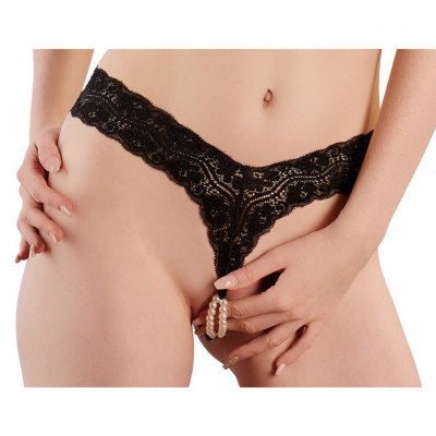G-string with Stimulating Pearls Black