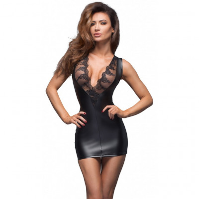Noir Mini Dress with Deep V Cut