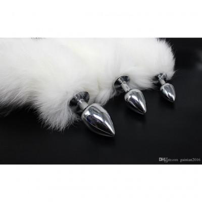 White Fox Tail Metal Butt Plug Medium