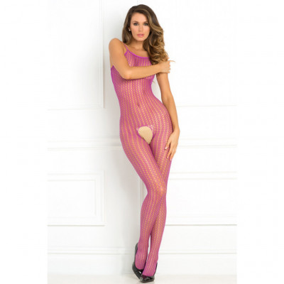 Crotchless Net Catsuit Purple